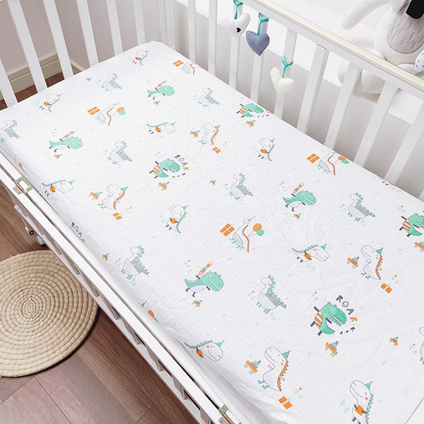 Baby Fitted Bet Sheet Newborn Bedding Baby Bedspread Cotton Gauze Sheet Childrens Mattress Cover Cloth Kids Beddings Set