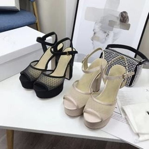 top popular Sandal high heeleds Lady Fashion Black nude open toe adjustable lace mesh leather large sole thick heeled womens sandals 2021