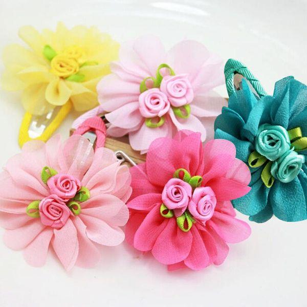 Mini Hair Clips Hair Accessories Baby Hair Solid Chiffon Flower Clips Newborn Baby Kids Barrettes Girls Clips