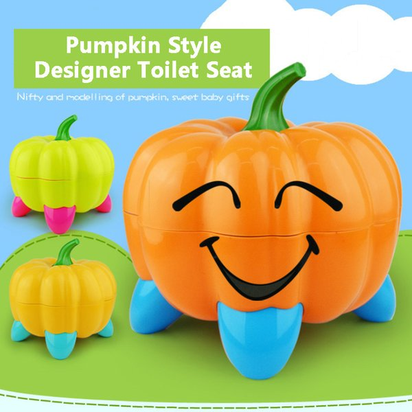 top popular Cute Pumpkin Style Designer Toilet Seat for Children with High Quality Children's Training Device 3 Colors 2021