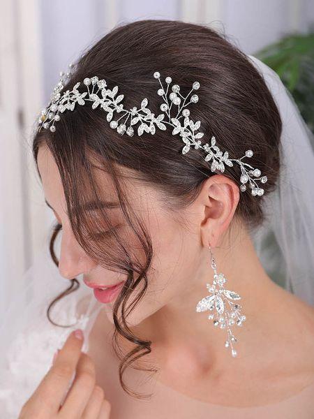 Wedding Leaf Silver Rose Gold Hair Vine Bridal Headpiece Headband Pearl Crystal Vine Wedding Ribbon Headband for Women and Girls