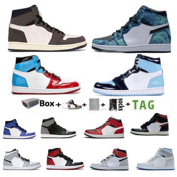 top popular Travis Scotts Fearless Basketball Shoes 1 1s Mid White Shadow Light Smoky Gray High Dark Mocha Chicago Obsidian UNC Men's Women's Sports Running 36~46 2021
