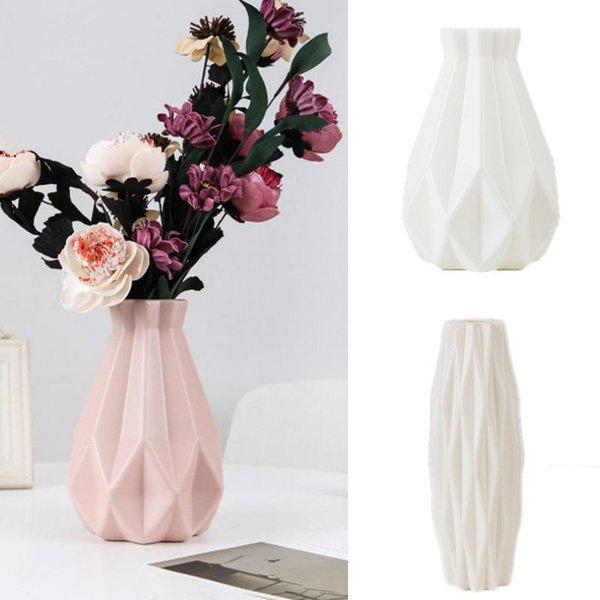 best selling Vase Decoration Home Plastic Vase White Imitation Ceramic Flower Pot Flower Basket Nordic Decorative Flower Vase