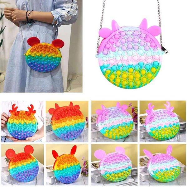 top popular Cute Rainbow Push Bubble Fidget Toy Messenger Bags Party Favor Cartoon Handbag Silicone Stress Reliever Sensory Toys 2021
