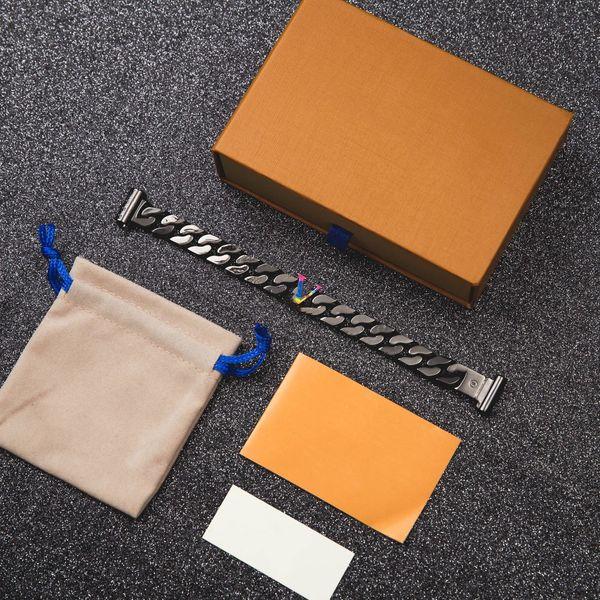 top popular Colorful Letter Tungsten Steel Bracelet Steel Buckle Bracelet Fashion Unisex Charm Bracelet High Quality Stainless Steel Chain Supply 2021
