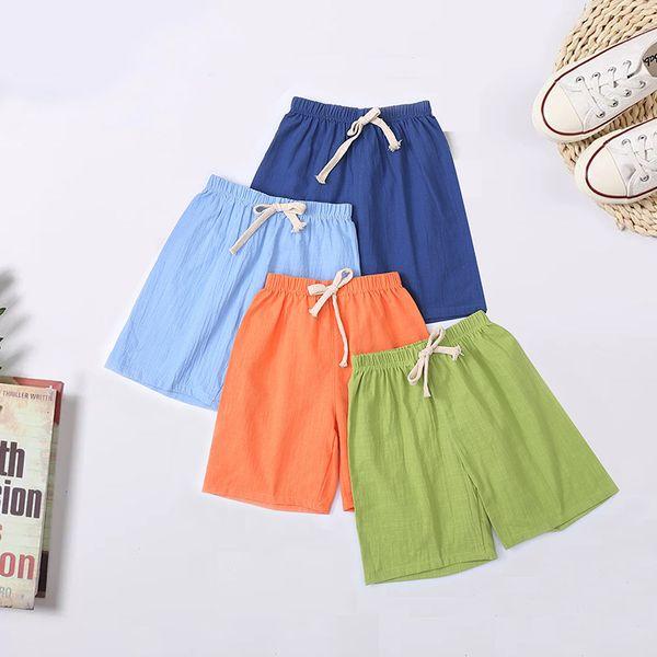 top popular Summer Children's Shorts Hemp Cotton Pajamas for Boys and Girls Beach Pants 2021
