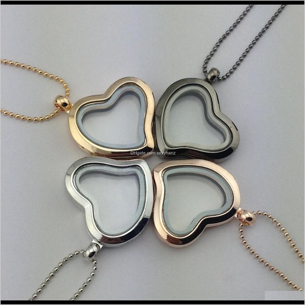 top popular Locket Necklace Gold Frame Heart Memory Floating Lockets Pendants With 70 Cm Chain Diy Jewelry For Women Will And Sandy Rmda Oyajq 2021