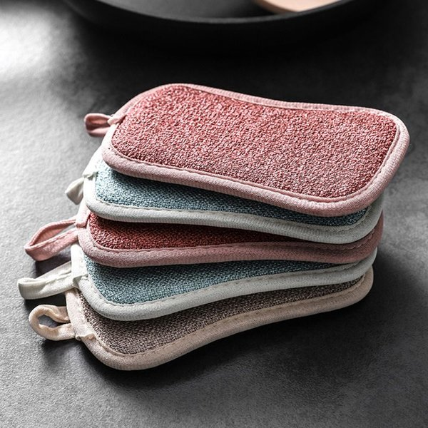 1/4Pcs Double Sided Scouring Pad Reusable Cleaning Magic Sponges Cloth Kitchen Cleaning Tools Wipers Decontamination Dish Towels