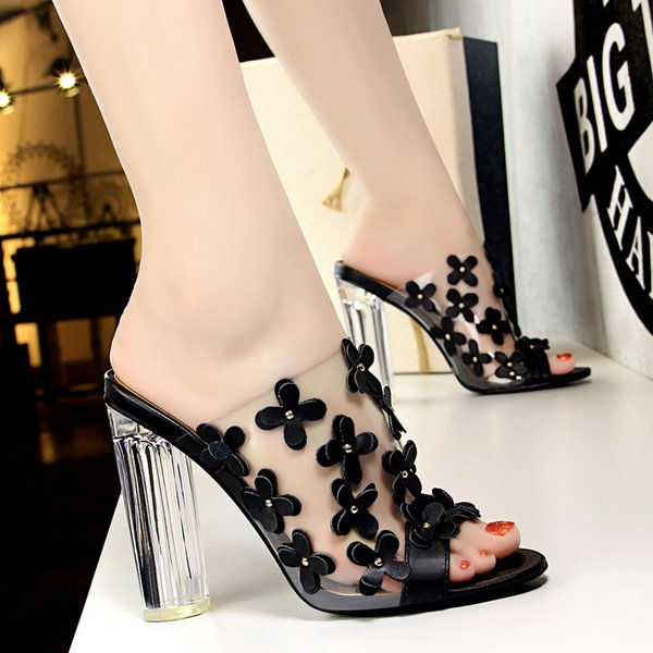 2021 Summer Women Pink 9.5cm High Heels Mules Thick Clear Block Heels Slides Flower Transparent Heels Peep Toe Slippers Shoes