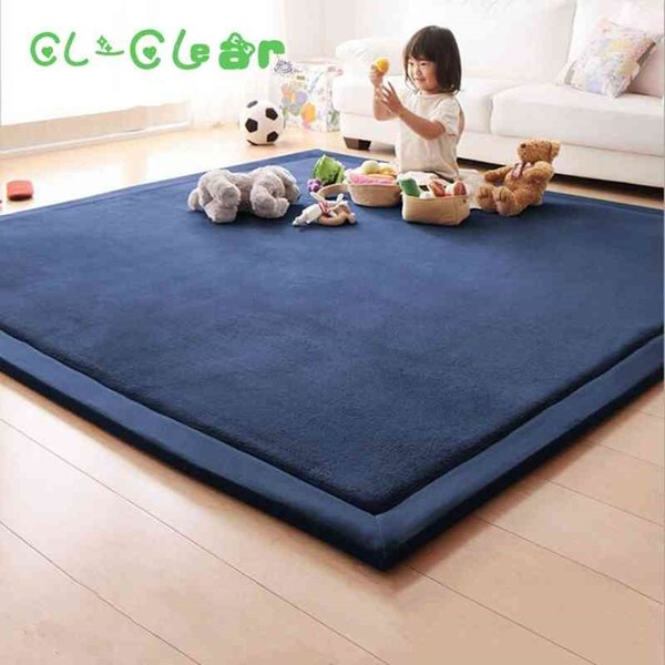 top popular New 2CM Thick Play Mats Coral Fleece Blanket Carpet Children Baby Crawling Tatami Mats Cushion Mattress For Bedroom 210401 2021