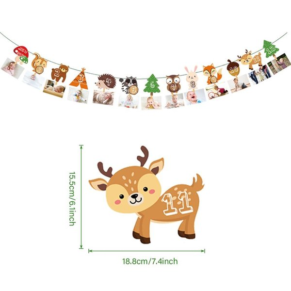 best selling 12 Month Photo Banner Safari Jungle Birthday Party Decorations Kids Jungle Party Animal 1st Birthday Decor Wild One Boy