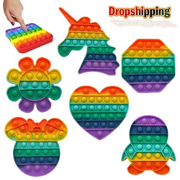 Push Bubble Fidget Sensory Toy It Rainbow Pop Fidget Toy Popit Fidget Toy Bubble Stress Reliever Autism Adult Kids Dropshipping
