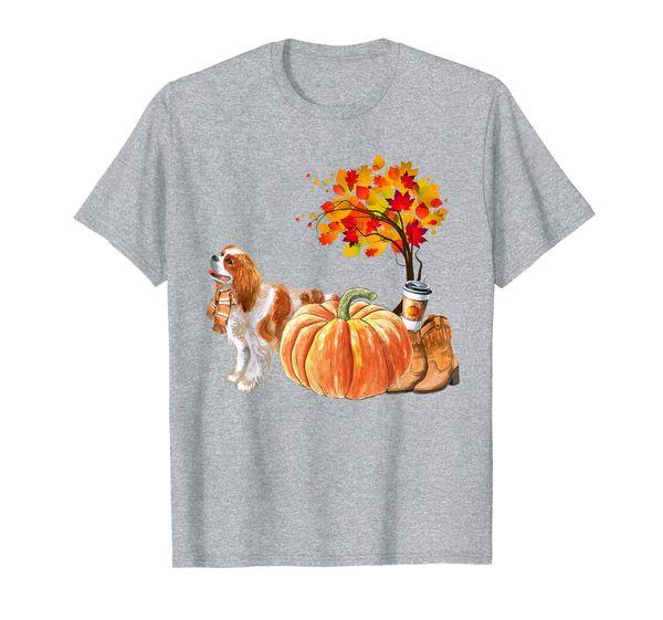 Cavalier King Charles Spaniel Scarf Pumpkin Spice Latte Fall T-Shirt