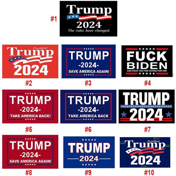 top popular Trump 2024 Flag 10 styles Donald Flags Keep America Great Again Polyester Decor Banner For President USA 2021