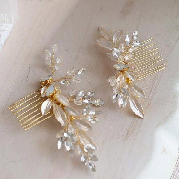 Gold Opal Wedding Hair Comb Rhinestone Hair Clip-Flower Hair Comb Handmade Bridal Accessories for Bridal and Bridesmaid