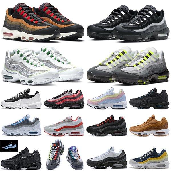 top popular Neon 95 men running shoes 95s Dark Smoke Grey Yin Yang Triple Black White Greedy outdoor platform mens womens trainers sports sneakers 2021