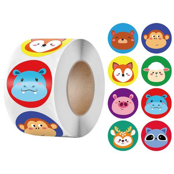 Cute Animals Sticker for Kids Classic Toy 500pcs Cartoon Sticker for School Teacher Encourage Motivational Reward Sticker Roll