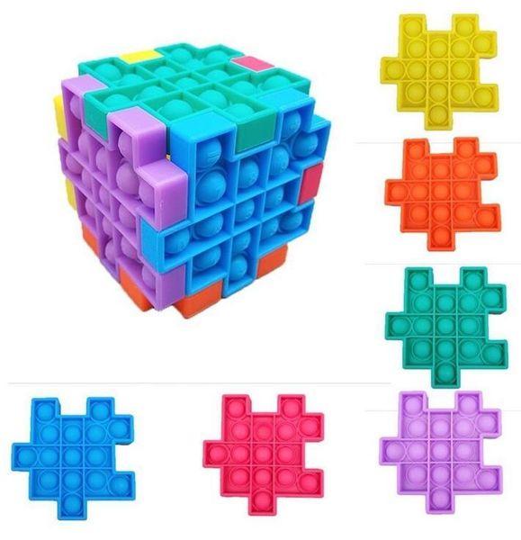top popular Fidget Puzzle Push It Party Favor Sensory Toys Silicone Cube Push Bubble Anti Stress Cubes Squeezy Squeeze Dimple FY4492 2021