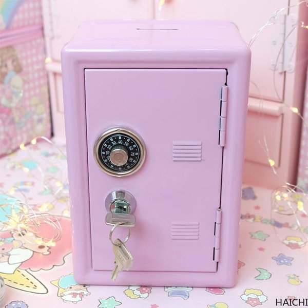 best selling Mini Dormitory Storage Cabinet Modern Ins For Girls Cute Safe Box Decorative Deposit Piggy Bank Metal Iron Home Decor