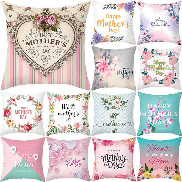 best selling Nordic mother's Day pillow cover peach skin velvet cushion cover love letter sofa cushion cover home