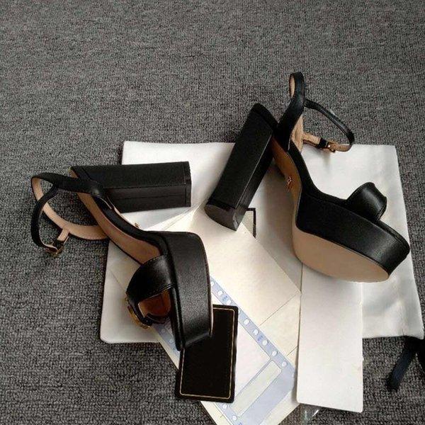 top popular summer High quality Women sandals Fashion Buckle platform Thick heel Genuine leather Womens cool shoe Designer sandal big size shoes 35-42 Free postage 2021