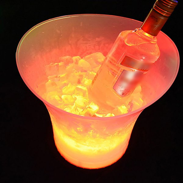 7 Color 5L Waterproof Plastic LED Ice Bucket Color Bars Nightclubs LED Light Up Champagne Wine Beer Bucket Bars Night Party