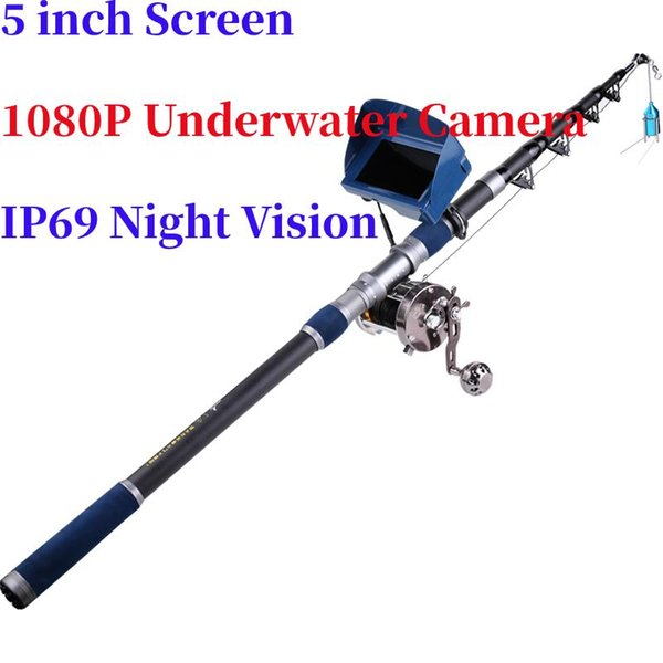 best selling Rod Reel Combo 5'' 40M 1080P Fish Finder Underwater Fishing Camera Pulling Force 60kg Sea Wheel With Hook