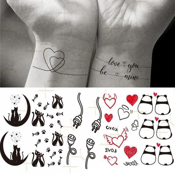 Tattoo & Body Art Temporary Tattoos Waterproof TemporaryTatoo Stickers Coupl Minimalist Line Art Tattoo WaterTransfer \