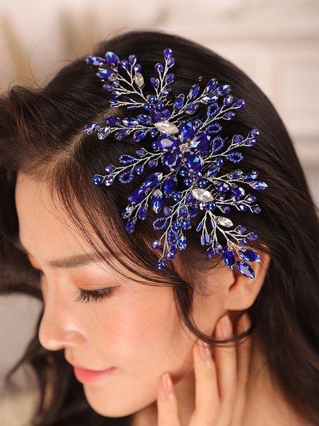 Bohe Blue Rhinestone Crystal Wedding Accessories Hair comb Bride to be Headdress hat female wedding Women bridal headwear