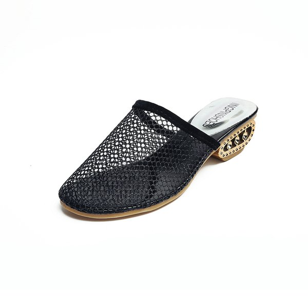 Low-heeled female slippers summer new fashion Korean casual female slippers hollow out breathable wild sexy female slippers