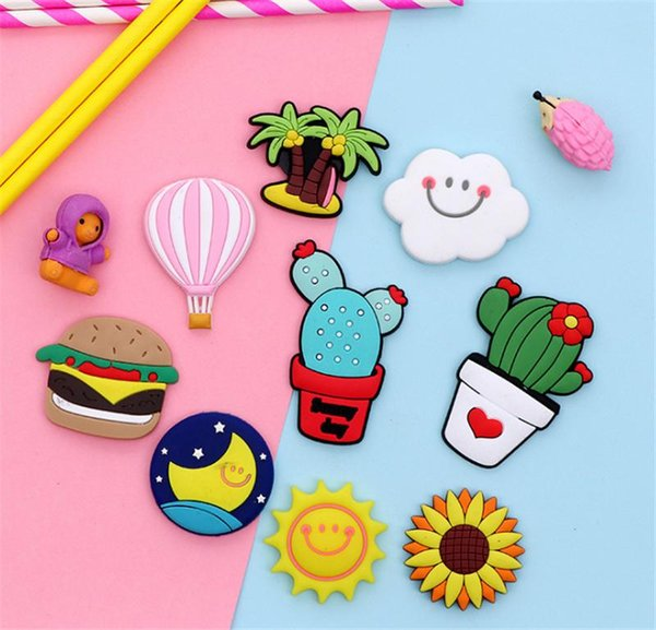 best selling Fridge Carton Magnets PVC Colorful Magnet Sticker Plastic Refrigeator 3D Cute Sticker Home Furnishing Decorate DHL Shipping