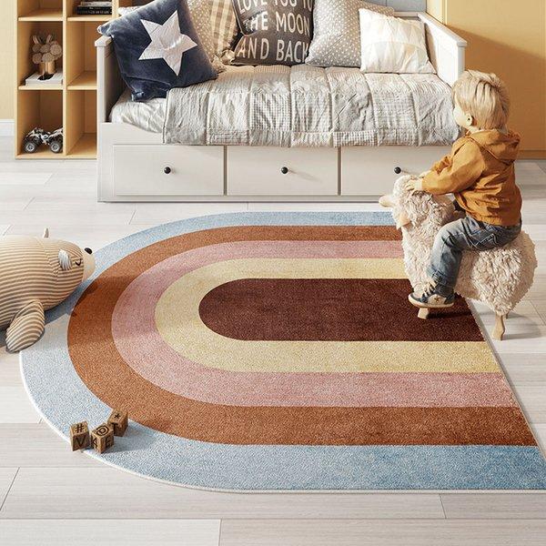 Rainbow Colors Carpets Kids Room Carpet Rugs Non-Slip Plush Soft Floor Carpet For Bedroom Living Room Chilren Baby Play Mats