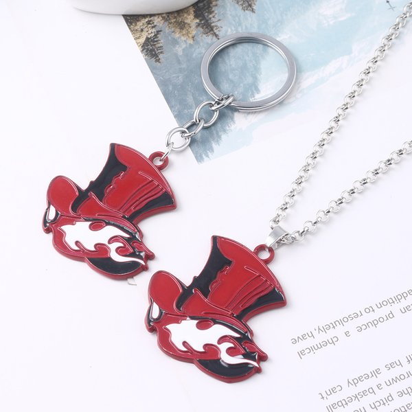 10pcRJ Japan Game Persona 5 P5 Keychain Take Your Heart Logo Red Hat Pendant Keychain for Women Men Car Jewelry Accessories Gift