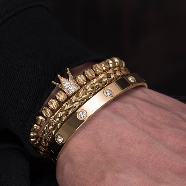 Luxury Micro Pave CZ Crown Roman Royal Charm Men Bracelets Stainless Steel Crystals Bangles Couple Handmade Jewelry GiftBracelets