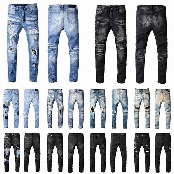 best selling 2021 Mens Designer Jeans Distressed Ripped Biker Slim Fit Motorcycle Biker Denim For Men s Fashion Mans Black Pants 20ss pour hommes