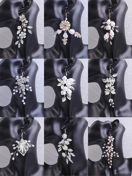 Trendy Silver Bridal Earring Opal Rhinestone Handmade Women Eardrop Party Hanging Earrings Flower Wedding Accessories Earrings