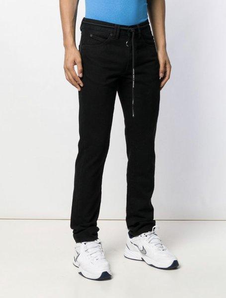 American High Street Brand OFF Minimalist Slim Fit Black Jeans Streetwear Slim Mens Pants Trousers Mens Clothing Mens Clothing Mens Pants Apparel Mens Jeans