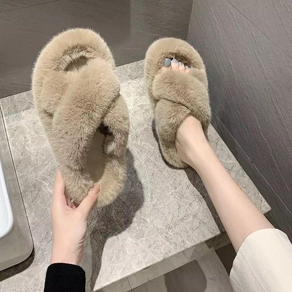women fluffy winter sandal cross plush open toe soft flat shoes warm faux fur slipper home female slippers, Black