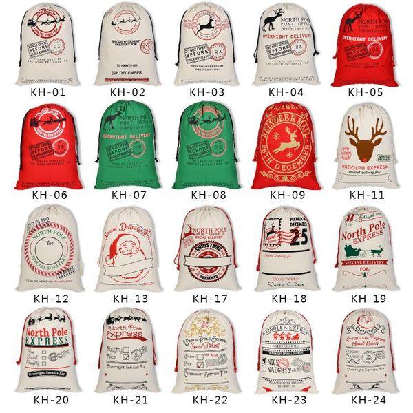 top popular Canvas Christmas Santas Bag Large Drawstring Candy Claus Bags Xmas Gift Santa Sacks For Festival Decoration 2021
