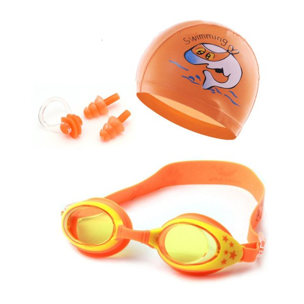 top popular goggles Kids Swimming glasses Children Cartoon Swim Caps Ear Plug Professional Dolphin Boy Eyewear Waterproof Hat Pool 2021