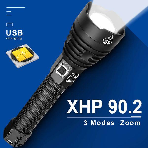 top popular XHP90.2 most powerful Tactical Flashlight XHP50 High bright Led USB Flashlights Rechargeable 18650 26650 Lantern XHP90 XHP70.2 201207 2021