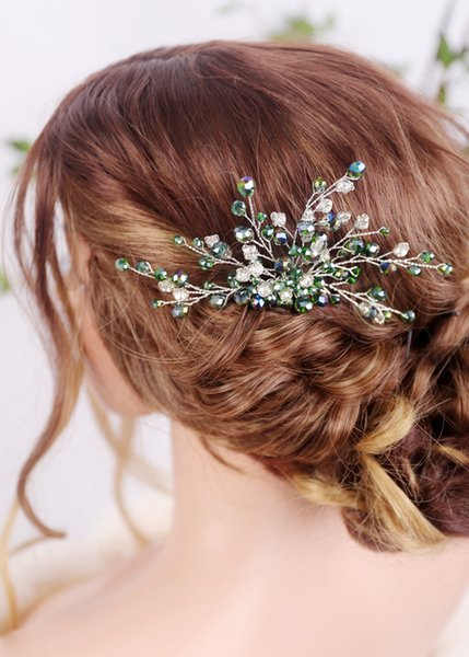 Green Rhinestones Bridal Hair Comb Wedding Silver Hair Jewelry Hair piece Prom and Party Accessories for Women