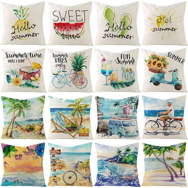top popular 2021 new linen pillow case summer fruit beach printing sofa cushion cover home 2021