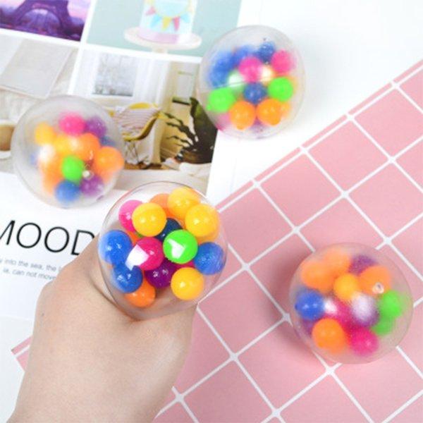 best selling 6CM TPR Vent Fidget Toys Color Bead Gumball Kleurrijke Rubber Ball Speelgoed Decompression Trage Rebound Knijpen Stress Squeeze Simulatie Gift