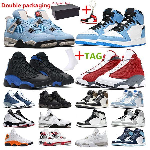best selling men basketball shoes jumpman 13s red Flint Hyper Royal 1s University Blue 4s White oreo cement Black Cat women sport sneaker trainer outddor