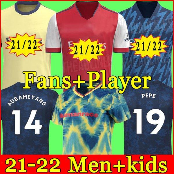 top popular Arsen soccer jersey Fans Player version Gunners 21 22 ØDEGAARD PEPE SAKA THOMAS WILLIAN NICOLAS TIERNEY football shirt Men + Kids kit fourth HUMANRACE 4th 2021