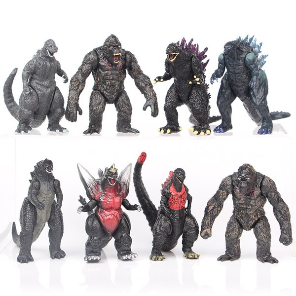 top popular 8Pcs Set Godzilla vs King Kong Movie Action Figures PVC Model Toy Figure 2021