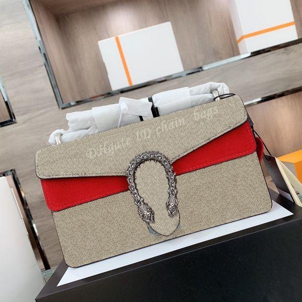 Luxury Designer 2021 Double G Ladies Fashion Handbag Shoulder Bag Tiger Head Classic Dot Chains Cowhide Satchel Bags Delicate Women Crossbody Handbags Totes