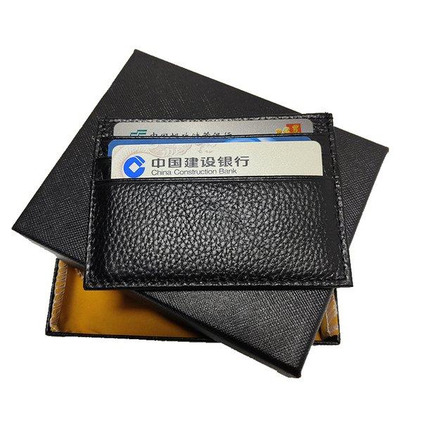 top popular Mens card holder pocket mini wallet high quality thin business cardholder genuine leather handbag Germany Craftsmanship with box set 2021