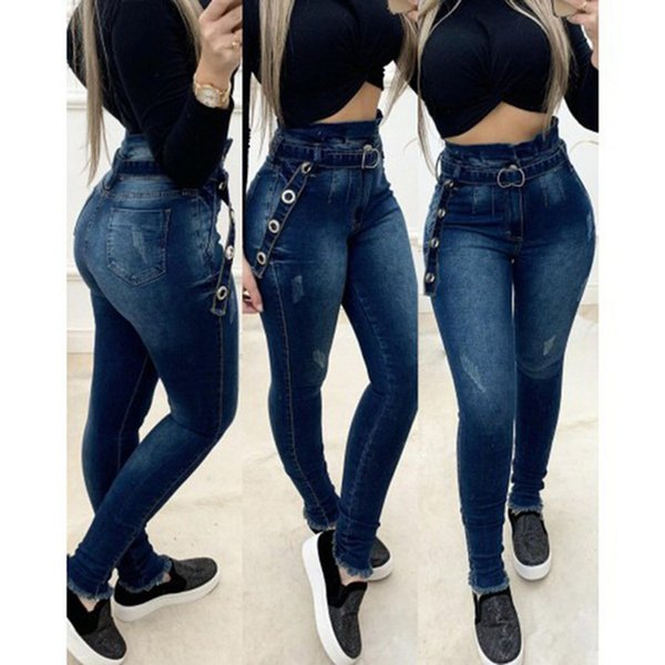 Women High Waisted Jeans Woman Skinny Washed Denim Pants Streetwear Sexy Female Long Jean Pant Trousers with Belts Blue